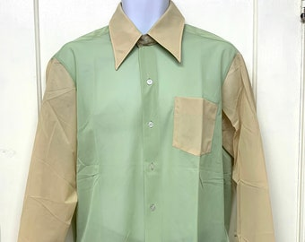 deadstock 1970s semi sheer color block shirt size 16.5 pastel green yellow disco party shirt NOS
