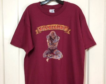 Vintage 1990's Sliverchair Freak Show Concert 1997 American Tour burgundy red T-shirt size Large 21x29 tattoo man barely used condition
