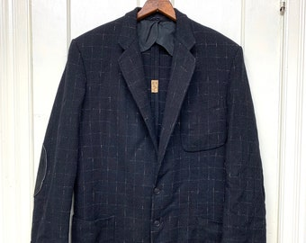 1949 black woven textured wool fleck checked suit dinner jacket blazer looks size medium suede elbow patches speckled rockabilly hepcat
