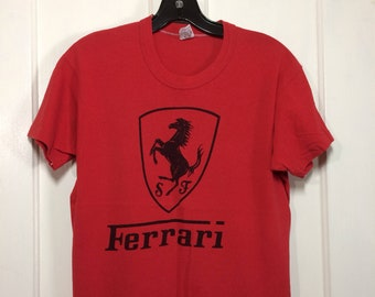 1970s Ferrari horse logo sports car t-shirt size medium 18x23 red all cotton old Russell tag