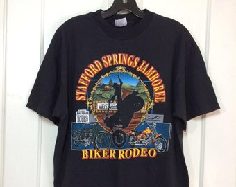 1990s 1992 Stafford Speedway Biker Rodeo Jamboree Harley Davidson Motorcycle black cotton t-shirt size Large 21x27 Connecticut Cowboy