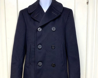 1950s military issue US Navy pea coat looks size small Korean War era kersey wool 8 anchor buttons stamped inside