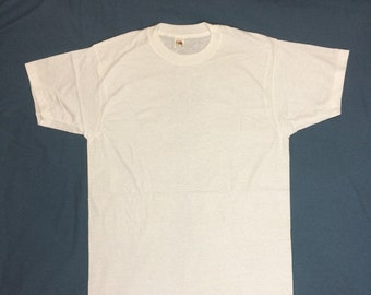 deadstock 1970s plain blank thin white all cotton Fruit of the Loom t-shirt size XL 19x30 NOS made in USA undershirt