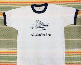 deadstock 1980s Starduster Too vintage biplane airplane t-shirt size XL 21x26 pilot aircraft white ringer tee Screen Stars made in USA NOS