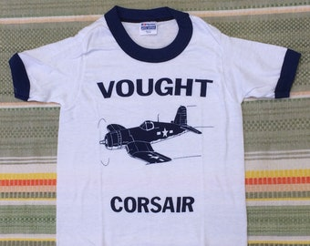kids deadstock Vought Corsair vintage airplane t-shirt girls boys youth size small 12x16 aircraft ringer tee Hanes made in USA NOS