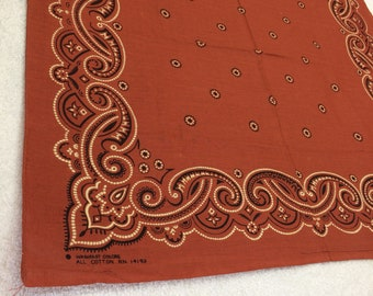 deadstock WashFast Color rust brown bandana 21x22 western cowboy polka dot circles swirls print hemmed cotton made in USA selvedge #127