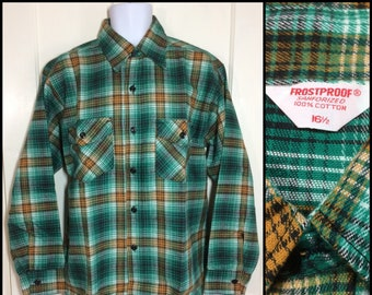1960s deadstock Frostproof Sanforized heavy flannel plaid shirt size large 16.5 green black yellow white NOS