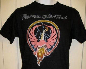Vintage 1980 Rossington Collins 80s Rock Band Pheonix T-shirt size Medium 18x25 single stitch cotton made in USA Hanes Anytime