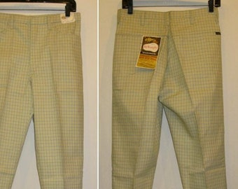 Vintage Deadstock 1960's Wrangler Peg Leg Tapered Plaid Jeans Pants Ivy League Slacks 30X32