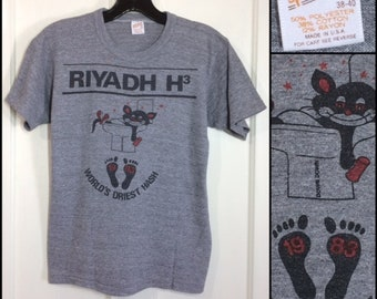 RIYADH H3 World's Driest Hash 1983 stoned cat cartoon t-shirt size medium 17x22 looks small soft tri-blend heather gray rayon made in USA