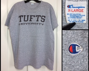 1980s Tufts University Massachusetts Champion brand heather gray t-shirt size XL 23x25.5 made in USA college sports gym cotton rayon