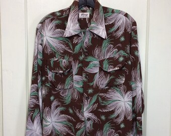 1940s silky rayon long sleeve Hawaiian loop collar shirt by Wings brown green gray patterned swing rockabilly restoration project AS-IS