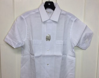 1960s deadstock plain white rayon short sleeve loop collar shirt size small Van Heusen NWT NOS