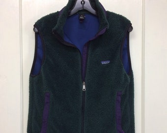 dark green plum purple Patagonia fleece zip-up winter vest size small made in USA 1992 PEF ski camping sherpa
