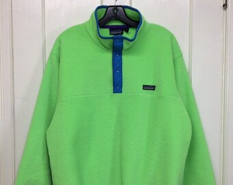 Vintage Patagonia snap T fleece pullover jacket size large neon day glow green turquoise blue made in USA excellent condition