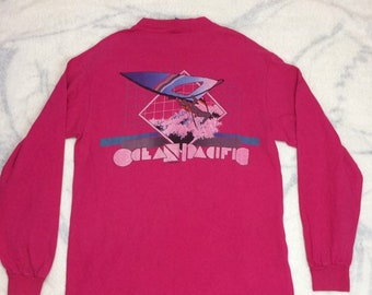 1980s 1983 OP Ocean Pacific wind surfer hot pink cotton long sleeve t-shirt size large 20x28 made in USA blue tag beach summer