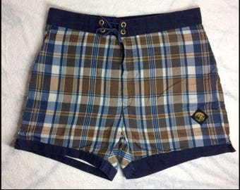 1960s plaid McGregor Swim n Play Talon zipper fly surfer swimsuit surfer board shorts swim trunks size 36 blue brown white cotton