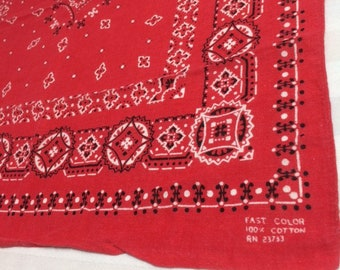 1950s small red bandana 17x17 Fast Color tiny print polka dots diamonds circles old west western soft hemmed cotton selvedge #115