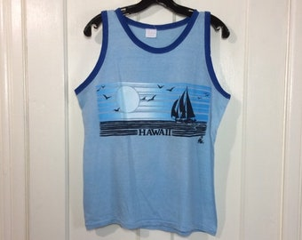 1970s light blue ringer Hawaii tropical sunset sailboat scene surfer muscle tee size large 19x23 cotton Polly tees