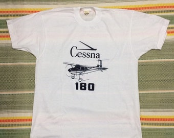 deadstock 1980s Cessna 180 Aircraft airplane t-shirt size XL 20x27 pilot aviator aviation thin white tee Screen Stars made in USA NOS