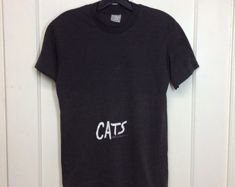 1980s 1981 faded black Cats the Musical t-shirt size small 16x23 worn soft single stitch tee made in USA