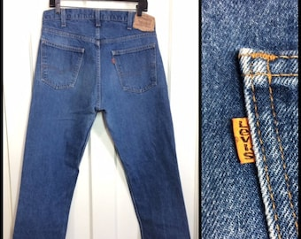 1980s Levi's 505 orange tab straight leg faded denim blue jeans 36x30, measures 35x29 short floods made in USA boyfriend jeans #355