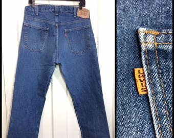 1980s Levis 505 orange tab straight leg faded denim blue jeans 36x30, measures 35x29 short floods made in USA boyfriend jeans #355