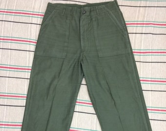 1970s Vietnam era US Military field utility trousers tag size 36X33, measures 35x31 cotton sateen green OG 107 baker pants #152