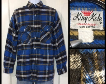 1950s King Kole heavy cotton flannel plaid shirt looks size small blue black gold white with gussets sanforized lumberjack
