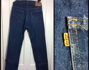 Levi's 505 straight leg dark wash denim blue jeans 36x36, measures 34x36 tall orange tab made in USA boyfriend barely used condition #346