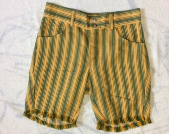 1960s yellow green striped denim jeans shorts measures 30 inch waist cut-offs mod hippie surfer grunge