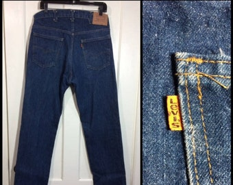 Levis 505 straight leg dark wash denim blue jeans 36x36, measures 34x36 tall orange tab made in USA boyfriend barely used condition #346