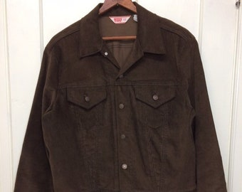1970s Levi's brown corduroy jacket 2 pocket size 46 made in USA missing tab #1944