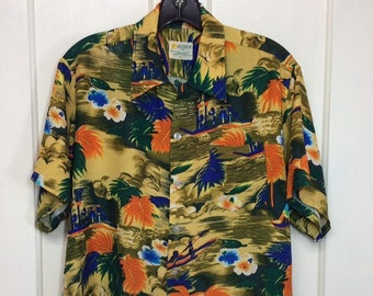 1960s rayon Hawaiian shirt size medium Aloha Coast to Coast National Shirt Shops made in Japan abstract outrigger boats beach island surfer