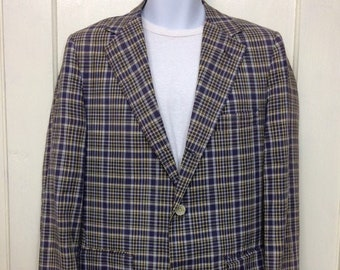 1960s madras plaid cotton sport coat jacket blazer looks size small 3 button single vent purplish blue yellow