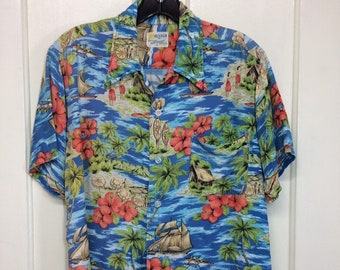 1960s rayon Hawaiian shirt size medium Aloha Coast to Coast National Shirt Shops made in Japan tiki boats beach island hula dancers surfer