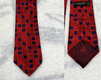 1990s designer Lanvin Paris all silk necktie red navy blue square check patterned made in France