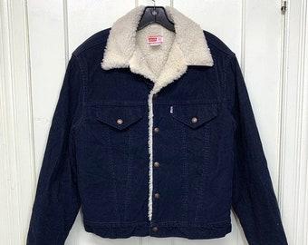1970s Levi's sherpa fleece lined winter corduroy jean jacket size 40 made in USA 2 pocket #956