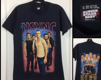 vintage NSYNC Celebrity Tour t-shirt size small 17.5x24.5 black Screen Stars made in USA boy band rock concert tee Justin Timberlake
