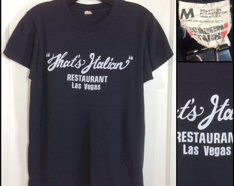 1980s That's Italian restaurant Las Vegas souvenir advertisement t-shirt size medium 18x23 black Screen Stars foodie chef