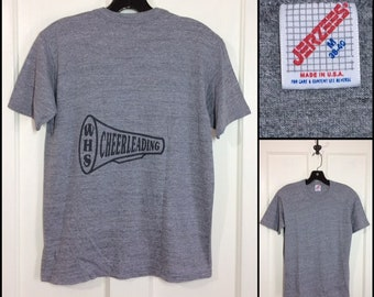 1980s tri-blend heather gray WHS high school cheerleaders t-shirt size medium 17.5x23 sports athletic cotton rayon blend