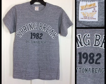 1980s Spring Break 1982 Daytona Beach Florida t-shirt size small 15x22 looks XS soft tri-blend heather gray rayon made in USA