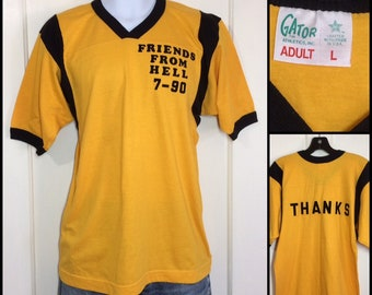 1990 Friends from Hell, Thanks football style v-neck ringer t-shirt size large 18x25 fuzzy flocked letters yellow black humor made in USA