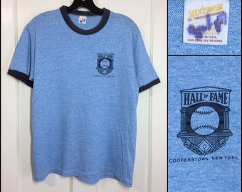1970s Baseball Hall of Fame Cooperstown New York souvenir t-shirt size large 19x25 heather blue tri-blend ringer tee made in USA