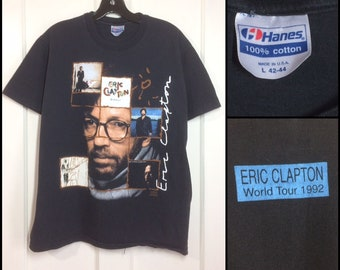 1990s Eric Clapton 1992 World Tour t-shirt size large 20.5x25 Hanes black cotton concert classic rock made in USA Journeyman Behind the Sun