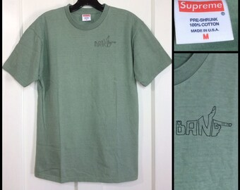 1990s Supreme brand skateboard Bang t-shirt size medium 18.5x25.5 sage green all cotton made in USA