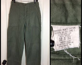 1960s 1969 Vietnam War 4 pocket side straps US Military cotton sateen utility trousers 32x33, measures 30x32 Army green baker pants #130
