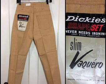1960s deadstock Dickies peg leg tapered trousers pants Ivy League mod punk skate 28X27 floods gold beige NWT NOS