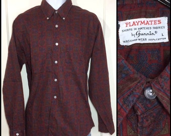 1960s Playmates brand cotton button down collar shirt size large dark burgundy red blue olive green psychedelic patterned Ivy League preppy