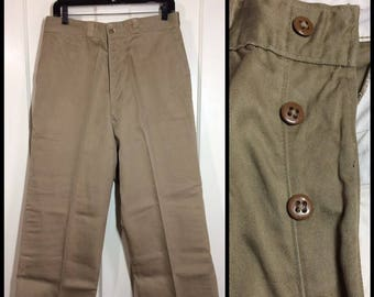 1950's 1952 US Military khaki button fly trousers 33X33, measures 33x25 shortened wide leg high waisted pants cotton twill